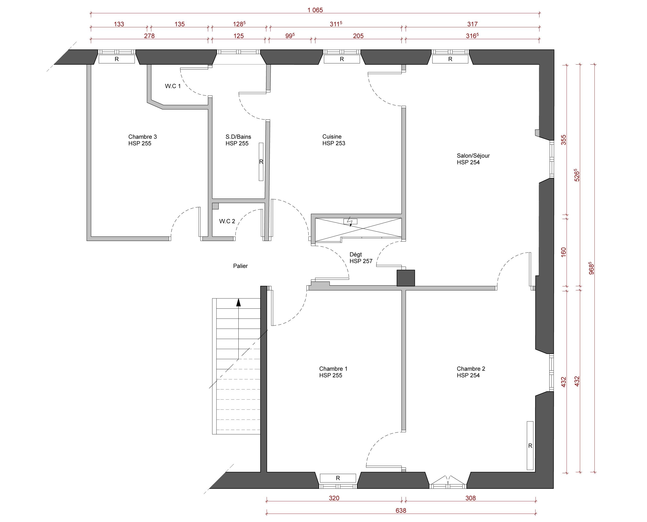 Plan Chambre Avec Salle De Bain Ouverte ~ proposition de plans pour la restructuration globale d un